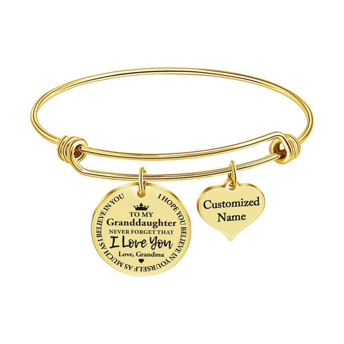 Grandma To Granddaughter - I Love You Customized Name Bracelet