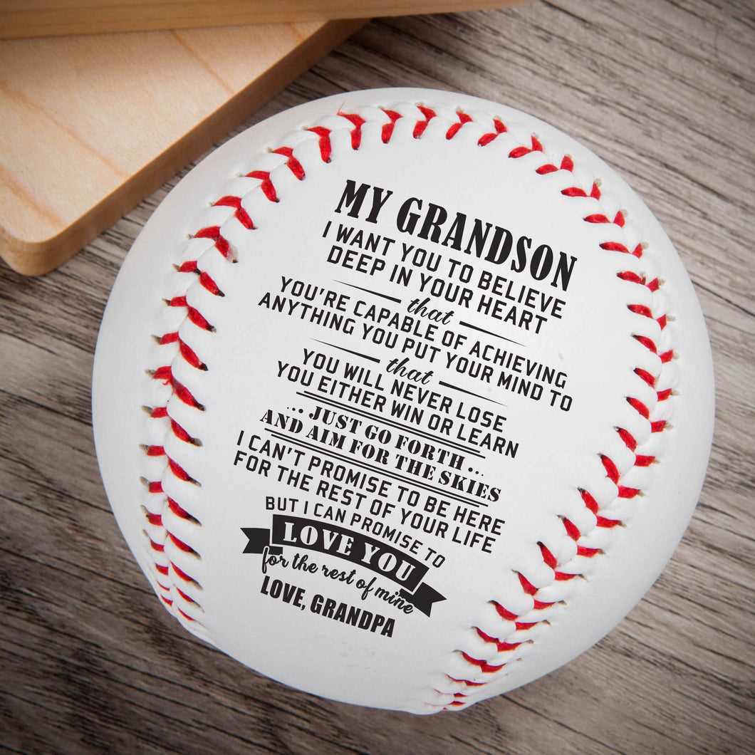 Grandpa To My Grandson Believe Deep In Your Heart Engraved Baseball