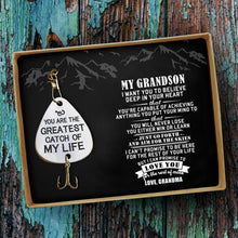 Grandma To Grandson - You Are The Greatest Catch Of My Life Engraved Fishing Lure