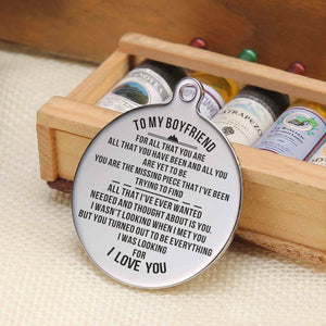 To My Boyfriend You Are The Missing Piece Engraved Keychain With Love Quotes