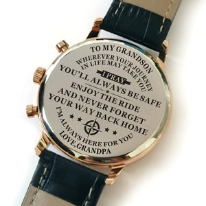 Grandpa To My Grandson I Am Always Here Engraved Leather Watch