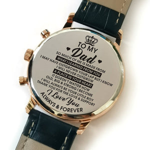 The backside of the watch is laser engraved with the perfectly loving messages for dad from son