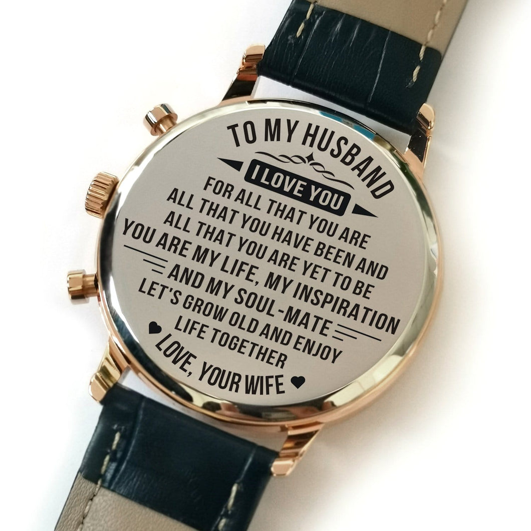 To My Husband Enjoy Life Together Engraved Leather Watch