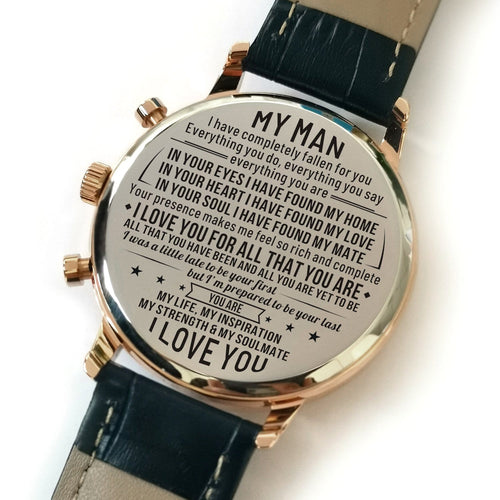 Watches To My Man - I Love You For All Engraved Watch GiveMe-Gifts