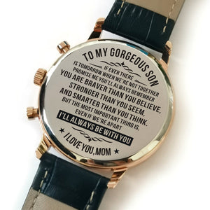 Mom To My Son You Are Strong Engraved Leather Watch