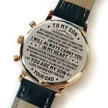 Dad To My Son I Love You Now And Forever Engraved Leather Watch
