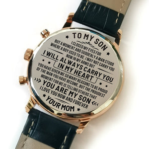 Mom To My Son I Love You Forever Engraved Leather Watch