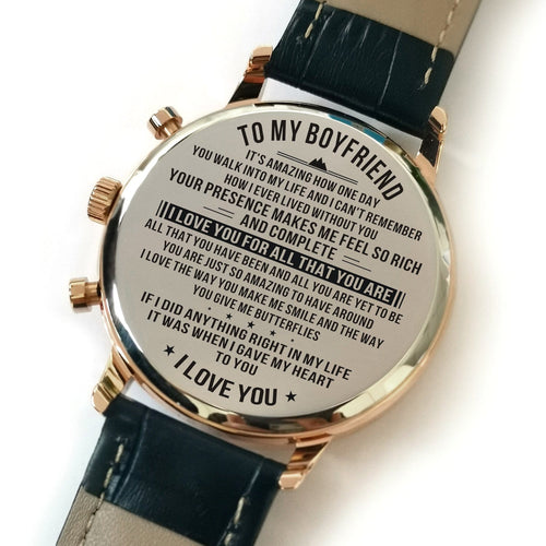 The backside of the watch is laser engraved with the perfectly loving messages for boyfriend