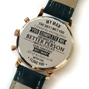 My Man The Day I Met You Engraved Leather Watch