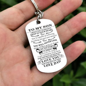 Dad To My Son You Will Never Lose Engraved Keychain