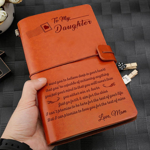 Mom To My Daughter I Promise To Love You Engraved Leather Journal Diary