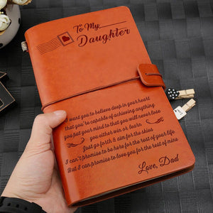 Dad To My Daughter I Promise To Love You Engraved Leather Journal Diary