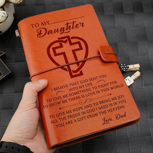 Dad To My Daughter You Are A Gift Engraved Leather Journal Diary