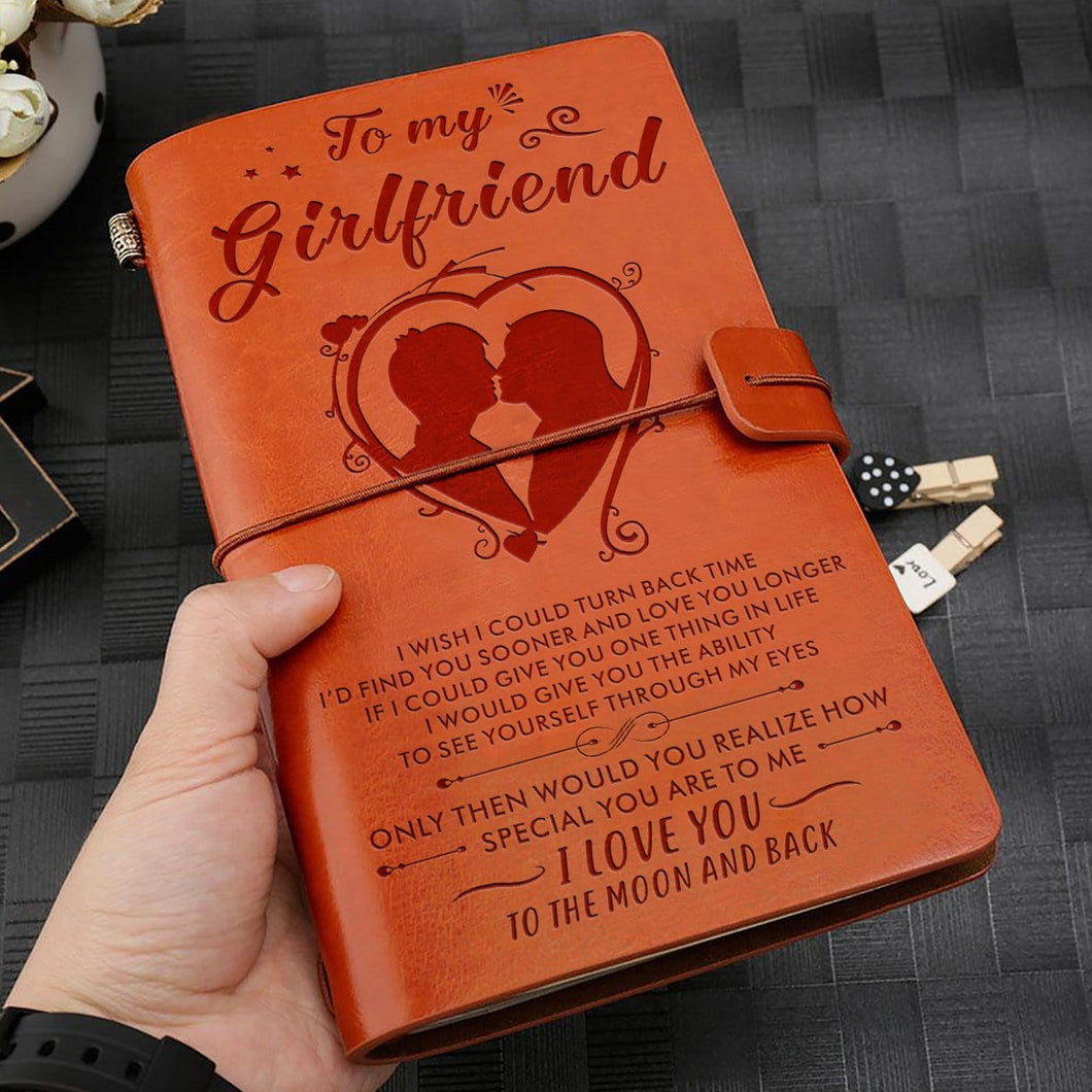 To My Girlfriend - I Love You To The Moon And Back Personalized Leather Journal