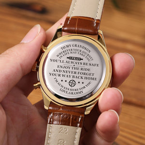 The backside of the watch is laser engraved the perfectly loving messages for grandson from grammy