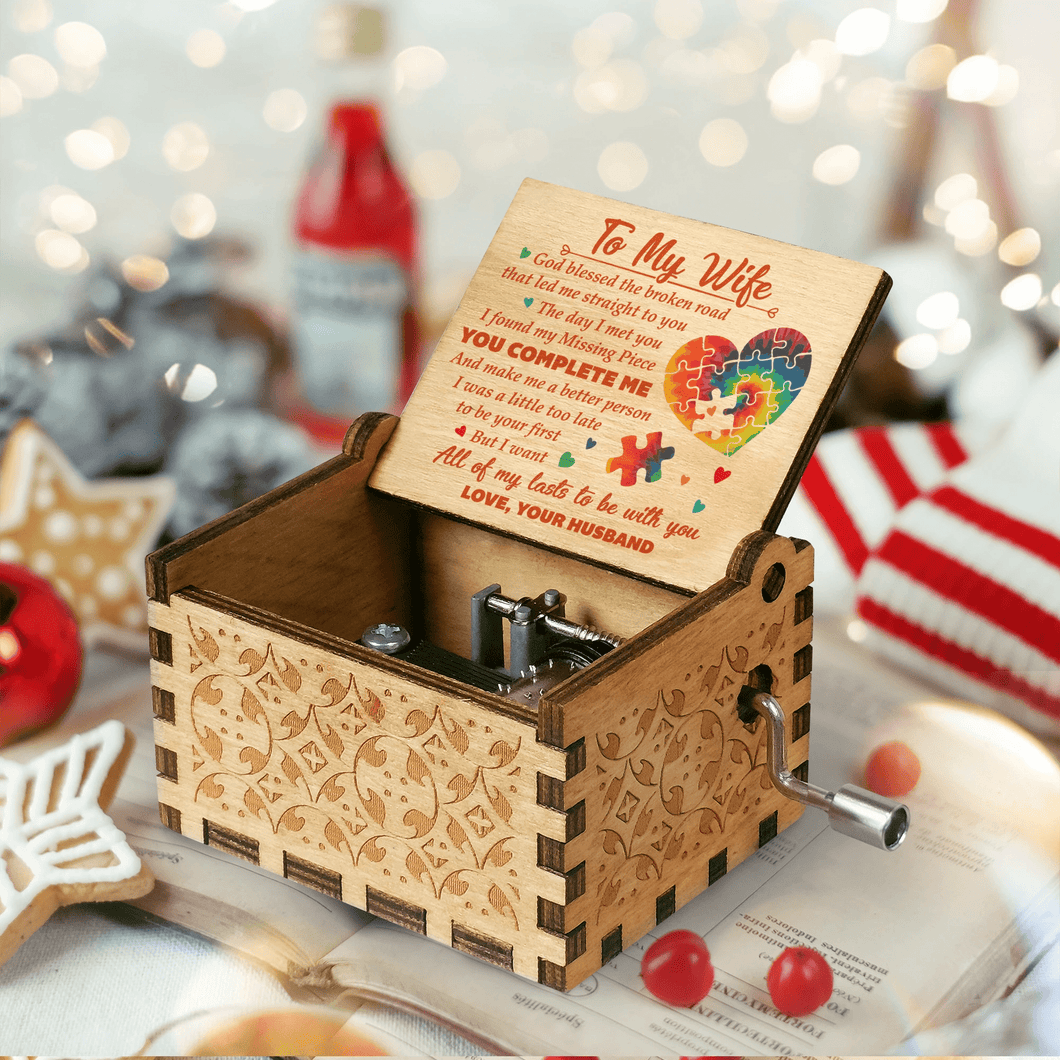 To My Wife - You Complete Me Engraved Wooden Music Box