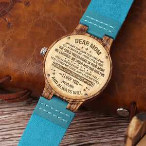 To My Mom - I Love You Engraved Wood Watch