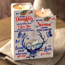 Dad To Daughter - I Love You Wooden Candle Holders