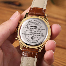 The backside of the watch is laser engraved the perfectly loving messages for grandson from grandpa