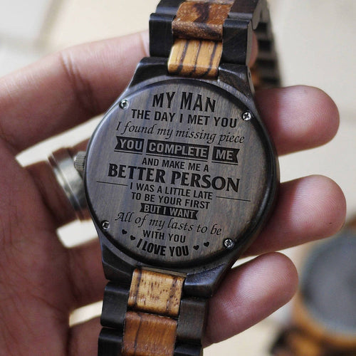 To My Man - The Day I Met You Engraved Wood Watch