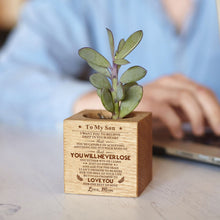 Mom To My Son You Will Never Lose Engraved Plant Pot