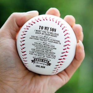 Mom To Son - Believe Deep In Your Heart Personalized Baseball