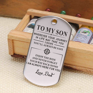 Dad To My Son I Hope You Will Always Be Safe Engraved Keychain