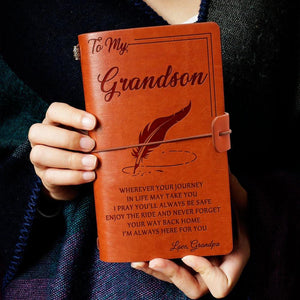 Grandpa To Grandson - I Am Always Here For You Personalized Leather Journal