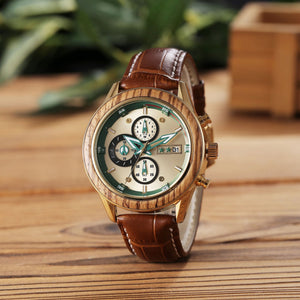 The watch is included with minute dial, seconds dial, calendar window and brown leather watchband