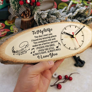 To My Wife - I Love You Engraved Wood Clock