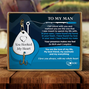 To My Man - You Hooked My Heart I Love You Engraved Fishing Lure