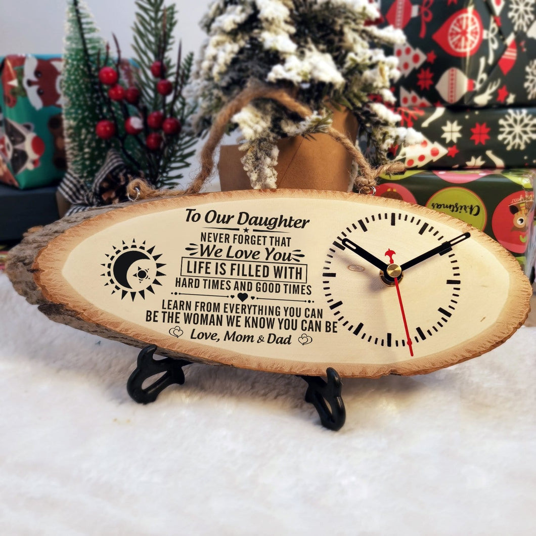 Table Clocks To Our Daughter - Be The Woman We Know You Can Be Engraved Wood Clock GiveMe-Gifts