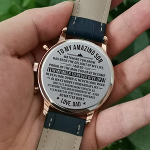 Dad To My Son Remember To Never Give Up Engraved Leather Watch
