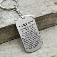 Dad To My Son Just Do Your Best Engraved Keychain