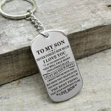 Mom To My Son The Best Thing To Me Engraved Keychain
