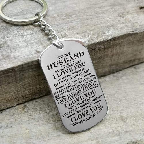 To My Husband I Love You With All My Heart Engraved Keychain