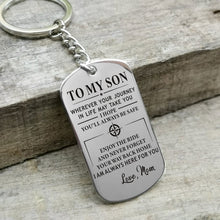 Mom To My Son I Hope You Will Always Be Safe Engraved Keychain