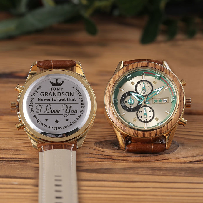 Engraved watch with the perfectly loving messages and brown leather band for grandson