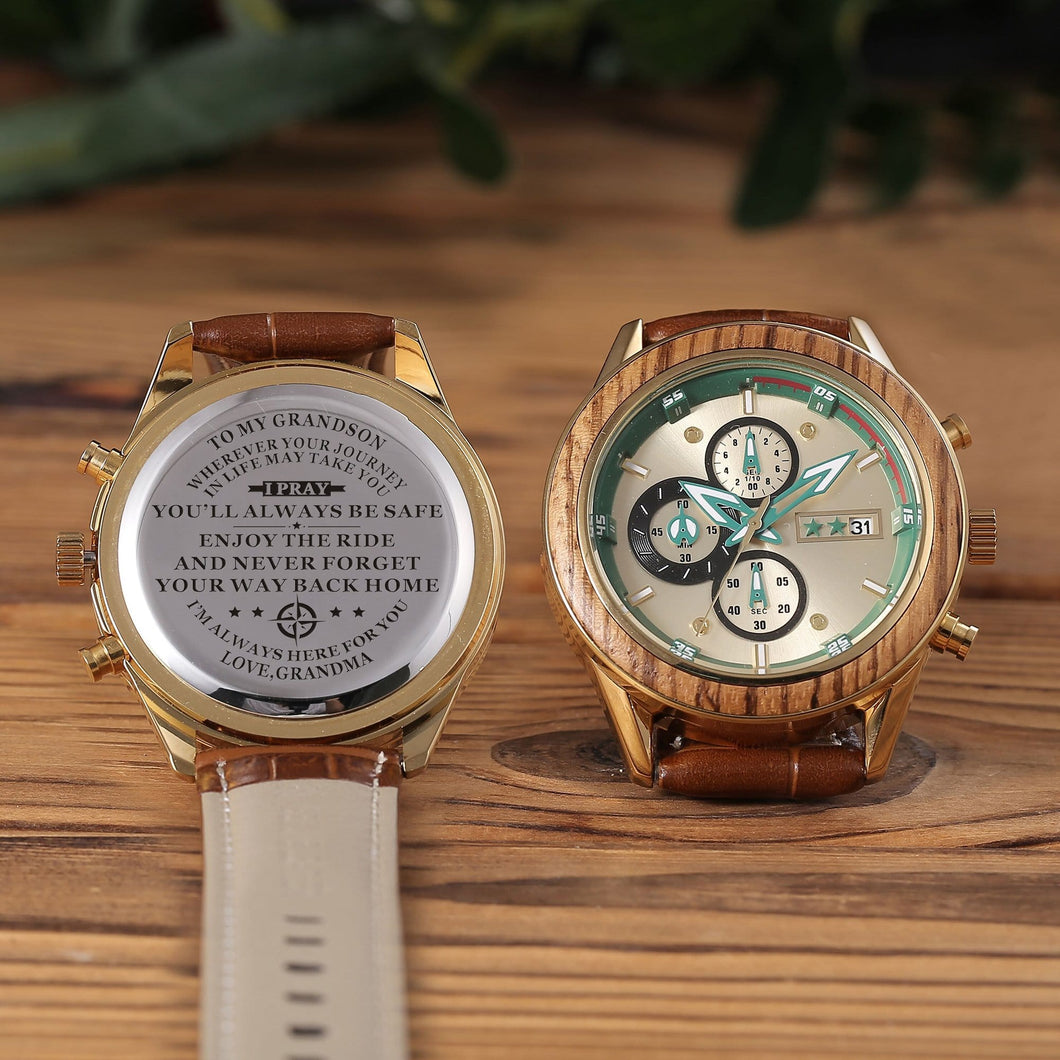Engraved watch with the perfectly loving messages for grandson from grandma and brown leather band