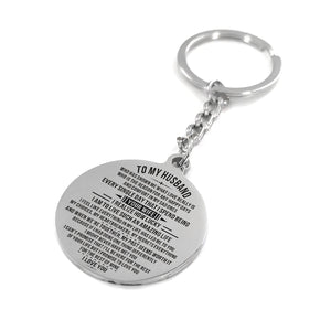 To My Husband I Love You Every Single Day Engraved Keychain