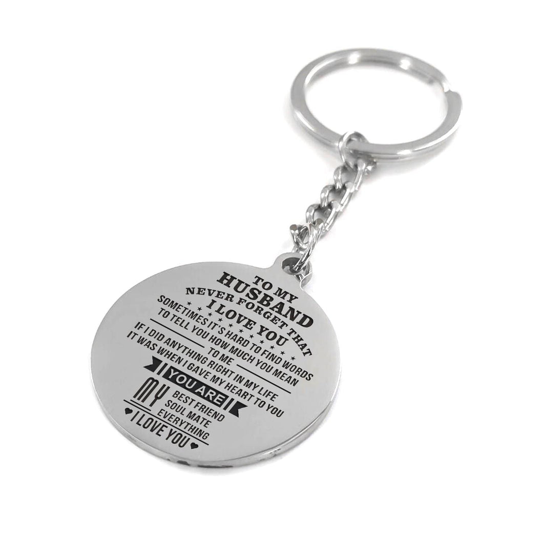 To My Husband You Are My Everything Engraved Keychain