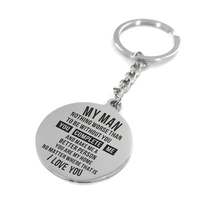 My Man You Complete Me Engraved Keychain With Love Quotes