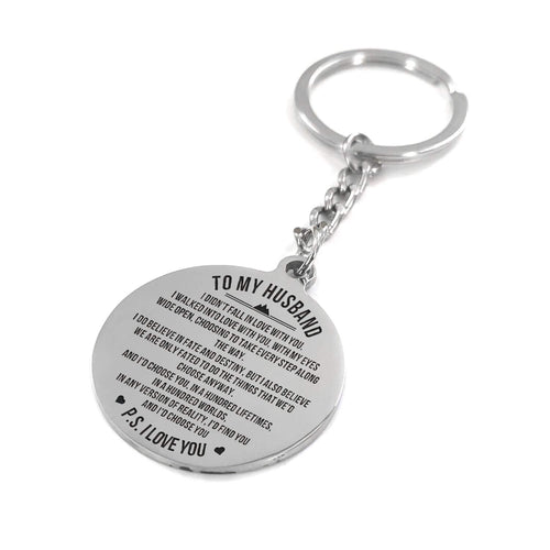 To My Husband I Choose You Engraved Keychain