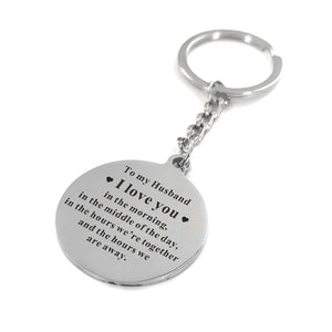 To My Husband I Love You Everytime Engraved Keychain