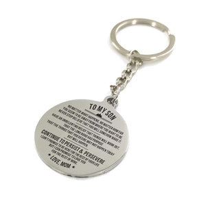 Mom To My Son Continue To Persist And Persevere Engraved Keychain