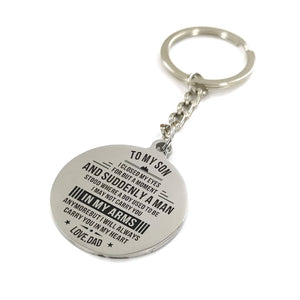 Dad To My Son I Will Always Carry You In My Heart Engraved Keychain