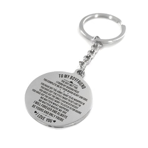 To My Boyfriend The Day I Met You Engraved Keychain With Love Quotes