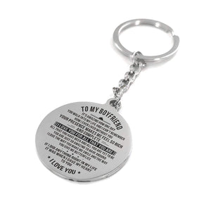 To My Boyfriend I Love You For All That You Are Engraved Keychain With Love Quotes