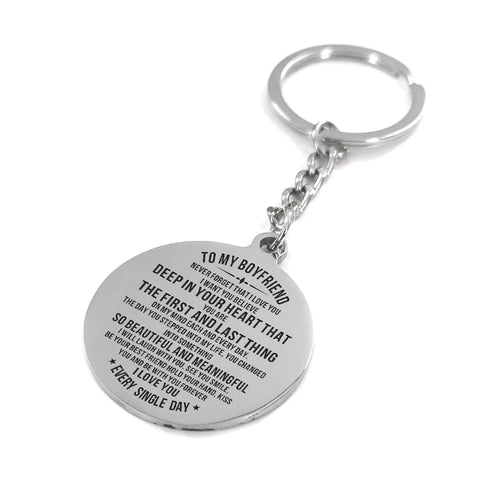 To My Boyfriend I Love You Every Single Day Engraved Keychain With Love Quotes