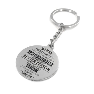 To My Man - You Complete Me Personalized Keychain